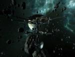 Estación espacial entre asteroides