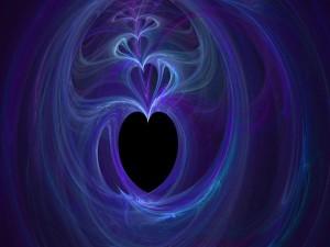 Corazones color púrpura de humo