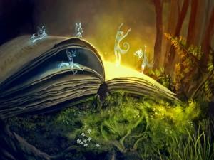 Zorros mágicos bailando sobre un libro en el bosque