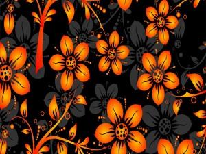 Flores naranjas y negras