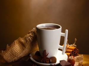 Una taza de chocolate con canela, avellanas y nuez moscada