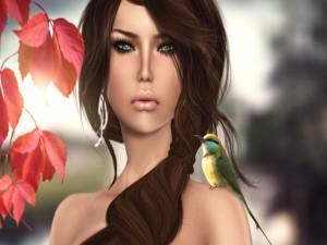 Una mujer con un pájaro en el hombro