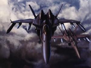 Dos aviones de combate en el cielo
