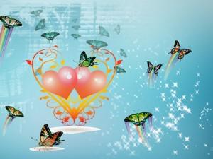 Mariposas volando junto a unos corazones