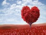 Árbol otoñal con forma de corazón