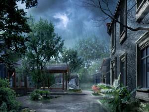 Lluvia cayendo del cielo