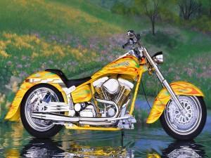 Una llamativa Harley-Davidson