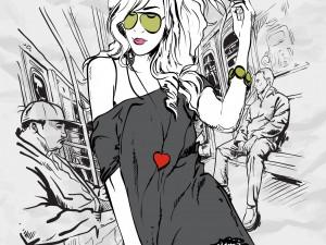 Mujer moderna en el metro