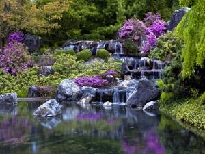 Cascada entre rocas y flores en el Jardín botánico de Montreal (Canadá)