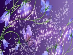 Mariposa entre las flores púrpura