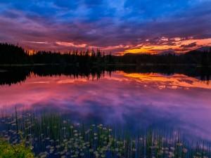 Cielo de Noruega reflejado en un lago