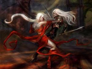 Lucha entre dos elfos amantes