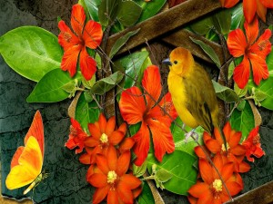 Un pájaro y una mariposa junto a unas flores de color naranja