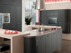 Cocina gris de diseño minimalista