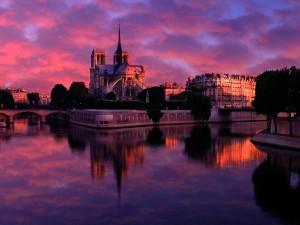 Vista de Notre Dame al amanecer (París, Francia)