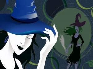 Elegantes brujas en la noche de Halloween