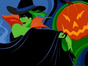 Una bruja en la noche de Halloween