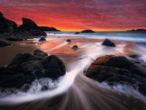 Agua de mar bañando la arena y las rocas de una playa