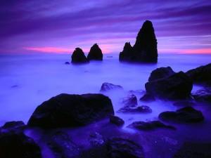 Bonito amanecer en el mar