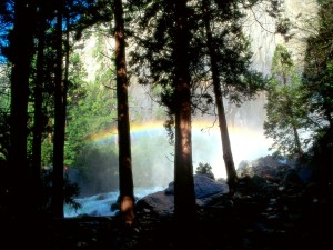 Pequeño arcoíris sobre el río