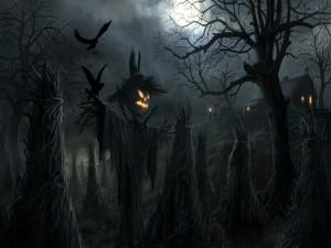 Espantapájaros en la noche de Halloween