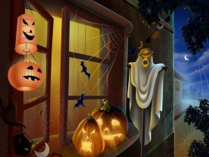 Espantapájaros y calabazas en la ventana para la noche de Halloween