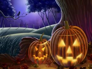 Calabazas asustadizas en la noche de Halloween