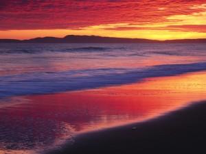 Los colores del amanecer reflejados en la orilla