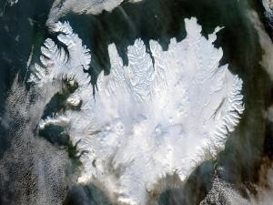 Vista satélite de Islandia