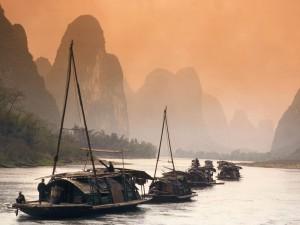 Barcas en el río Li (China)