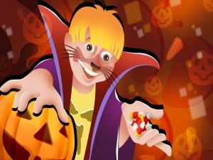 Niño con un disfraz y caramelos en Halloween