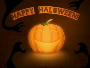 """Calabaza iluminada y """"Feliz Halloween"""""""