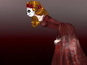 Mujer vestida en el Día de Muertos