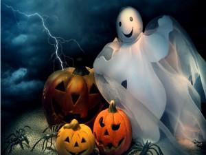 Fantasma y calabazas en Halloween
