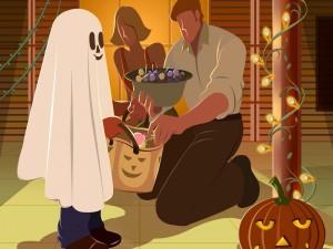 Niño pidiendo caramelos en la noche de Halloween