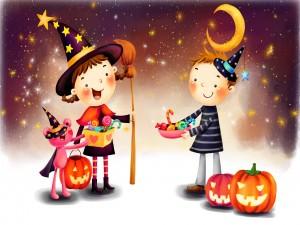 Niños divirtiéndose en la tradicional noche de Halloween