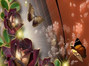 Mariposas volando sobre las rosas