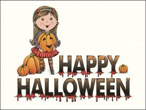 """Niña con calabazas y """"Feliz Halloween"""""""