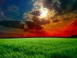 Rayos de sol entre las nubes sobre un campo