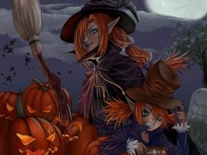Dos brujas en la noche de Halloween