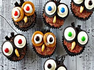 Cupcakes de búho para festejar Halloween