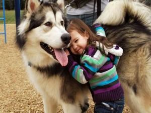 Niña acariciando a un perro