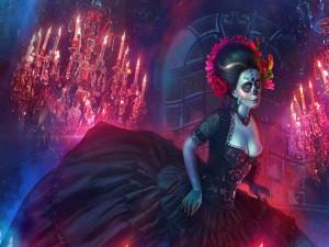 """Vestida y maquillada para el """"Día de Muertos"""""""