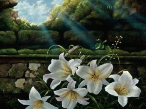 Flores en una pintura