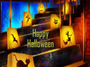 Escaleras adornadas para la noche de Halloween