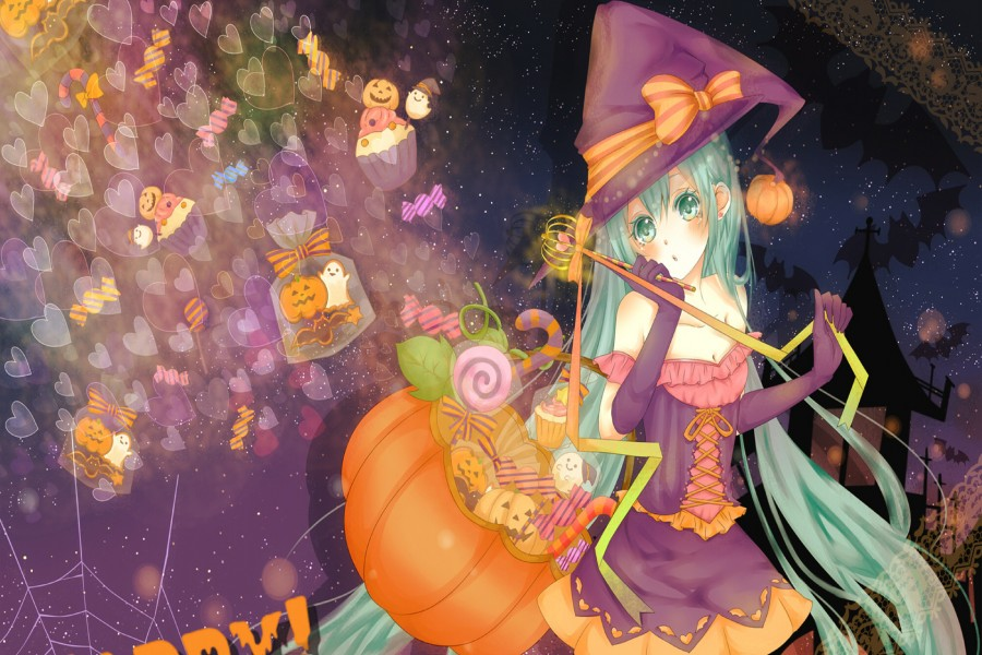 Chica anime festejando Halloween