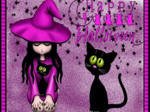 Bruja sentada junto a un gato negro en Halloween