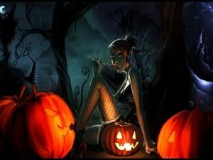 Chica junto a unas calabazas en la noche de Halloween