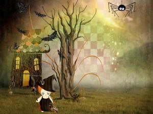 Una joven bruja en la noche de Halloween