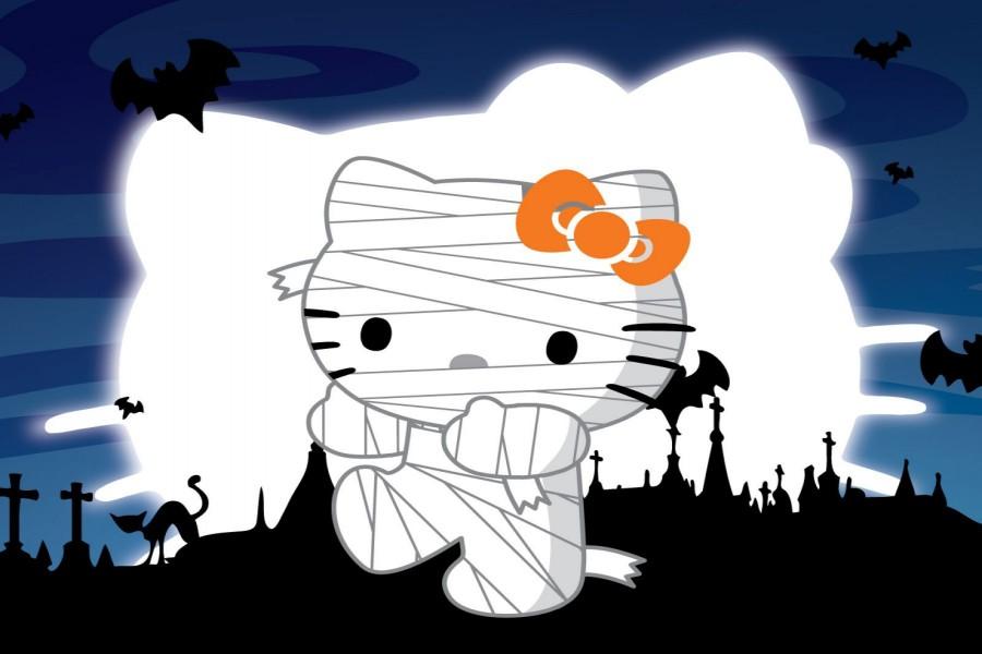 Hello Kitty disfazada en Halloween